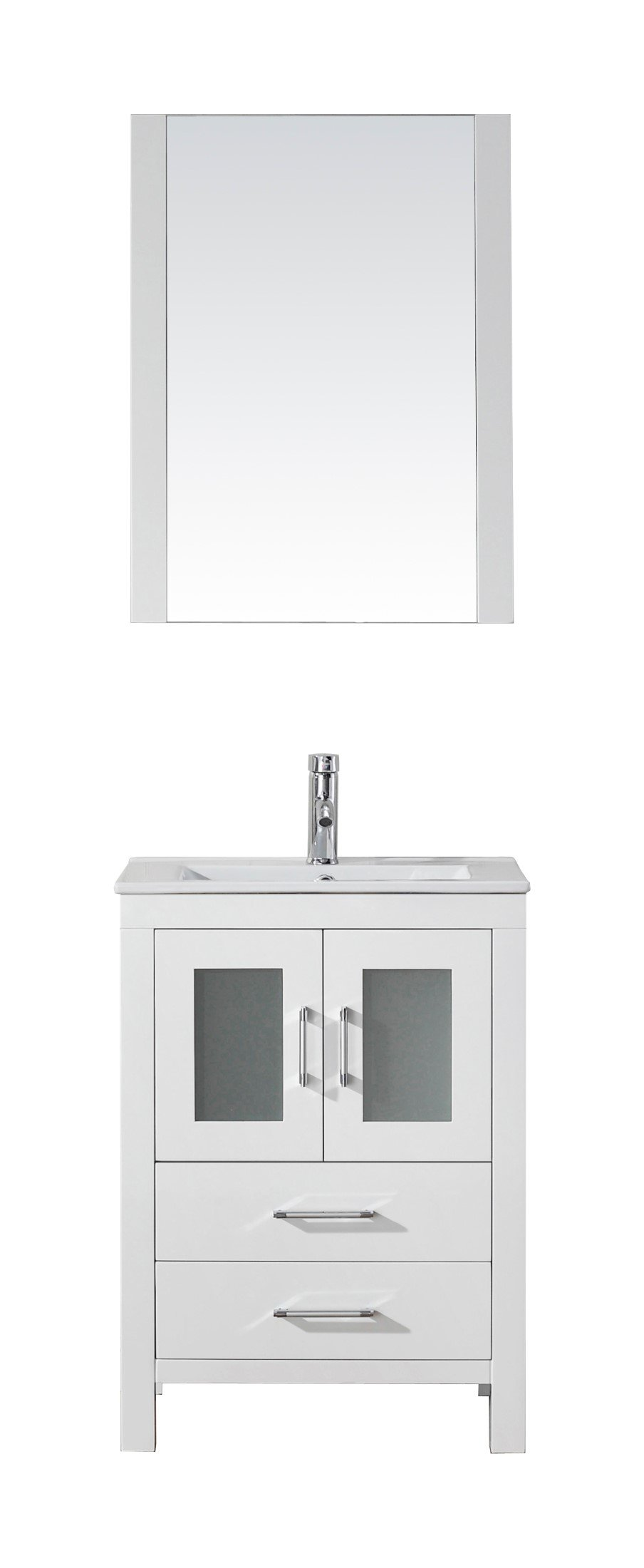 Virtu USA KS-70024-C-WH Modern 24-Inch Single Sink Bathroom Vanity Set with Polished Chrome Faucet, White