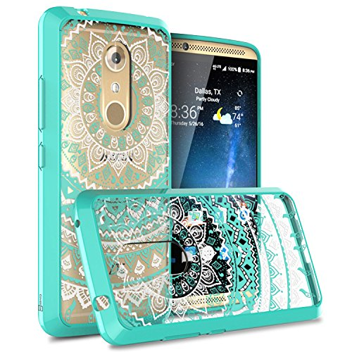 ZTE Axon 7 Case, CoverON [ClearGuard Series] Hard Clear Back Cover with Flexible TPU Bumpers Slim Fit Phone Cover Case for ZTE Axon 7 - Mandala Teal