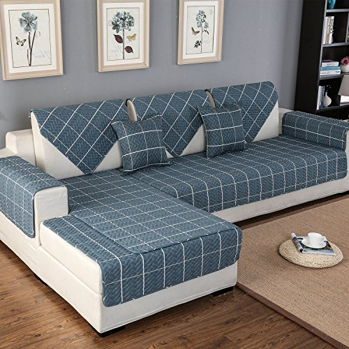 OstepDecor Pet Dog Couch Cotton Quilted Chequer Furniture Protector Cover for Sofa, Loveseat | ONE PIECE | Backing and Armrest Sold Separately