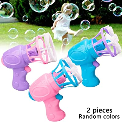 2pcs Bubble Machine For Kids Automatic Bubble Blower Electric Bubble Gun For Kids Summer Toy Outdoors Activity(No Bubble Refill Solution No Battery Random Color): Toys & Games
