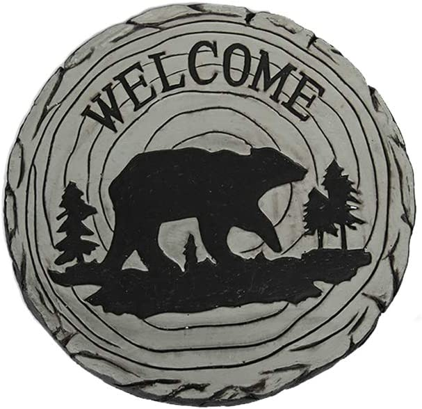 Comfy Hour Farmhouse Home Decor Collection Bear in Forest Decorative Garden Stepping Stone 10-Inch, Concrete