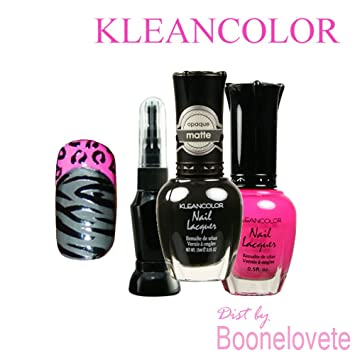 Amazon Com Kleancolor Nail Polish Lacquer Diy Pink Zebra Kit W