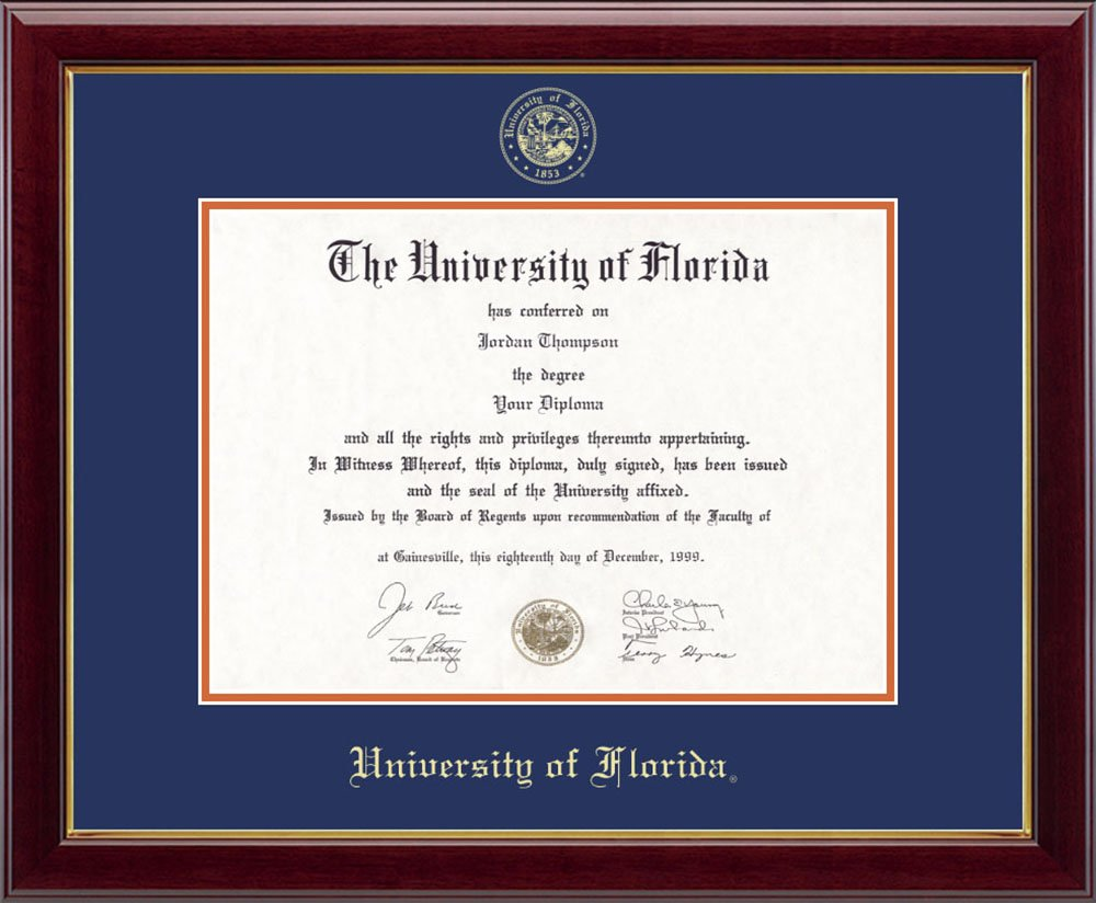 """University of Florida Gold Embossed Diploma Frame – Solid Hardwood """"Gallery"""" Moulding, Officially Licensed – 11.5''h x 16''w Diploma Size – By Church Hill Classics by Church Hill Classics"""