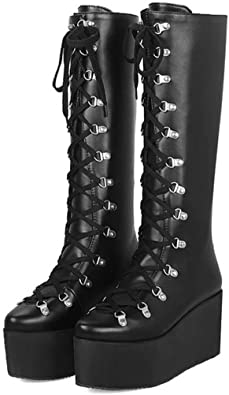 Details about  /Punk Knee High Boots Women Platform Wedge High Heel Lace Up Buckle Oxfords Goth