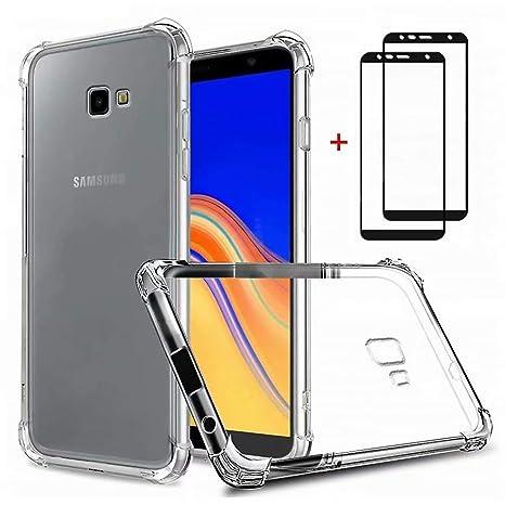 DYGG Compatible con Funda para Samsung Galaxy j4 Plus/j4+, Carcasa Forro Transparente TPU Silicona Flexible Case+[2* Protector de Pantalla]