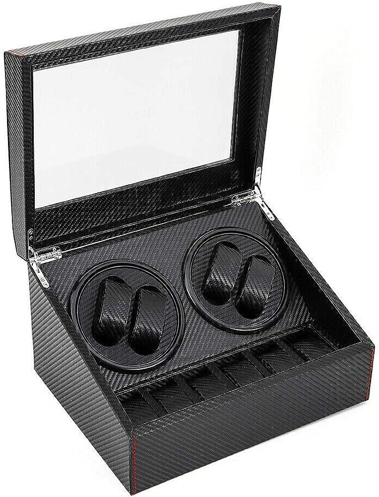 Enrollador automático de Relojes 10 Relojes Caja de Reloj para Relojes automáticos Destornillador de Reloj, de MDF + PU + Metal, 4 + 6 Negro: Amazon.es: Relojes