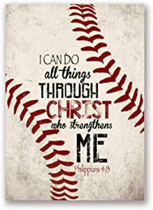 Christian Baseball Vintage Posters Art Prints Christ Quotes Canvas Painting Boy Room Retro Picture Wall Decor-50x70cm No Frame