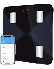 Blance Pese Personne Bluetooth,MPOW Balance Personnes Impédancemètre Compatible avec APP iOS et Android,3~180KG,10 Genres Donées,20 Utilisateurs Max,Pese Personnes Bluetooth Ecran LED Rétroéclairé