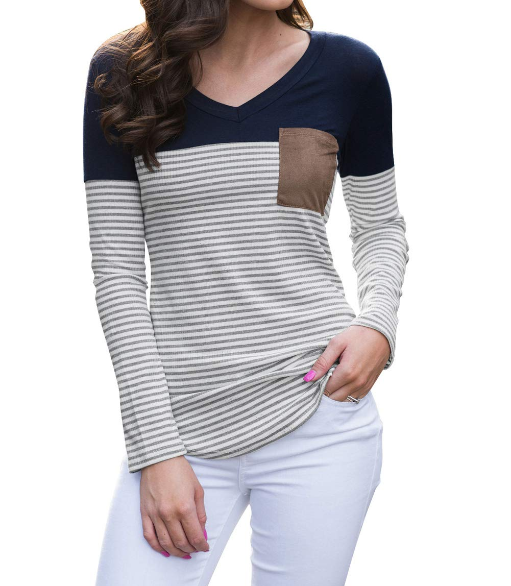 Tomlyws Women's Color Block Stripes Blouse Long Sleeve Casual Tee Shirts Suede Pocket Tunic Tops Navy Blue S