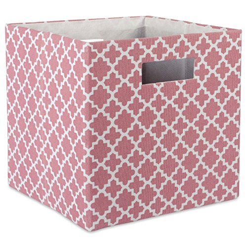 DII Hard Sided Collapsible Fabric Storage Container for Nursery, Offices, & Home Organization, (13x13x13) - Lattice Rose