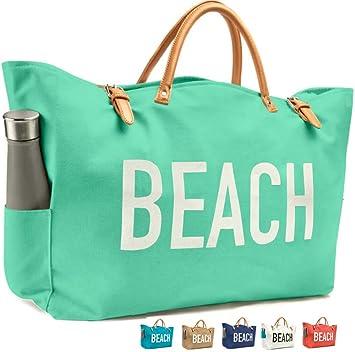 4dbac9e56 Amazon.com: KEHO Fashion Beach Bag (Cute Travel Tote), Large and Roomy,  Waterproof Lining, Multiple Pockets (Green Canvas): Keho