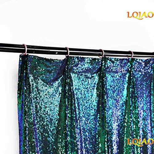 LQIAO W50xH84in Fluorescence Green Sequin Curtain Backdrop Sequin Photo Backdrop Ceremony Background Shimmer Sequin Backdrop Fabric/Curtain For Wedding/Home DIY-one pc, Hook 50x84in(125x220cm)) by LQIAO (Image #1)