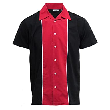 a43ccab98e2a Relco - Herren Hemd kurzärmelig - Baumwolle - Retro Bowling-Stil - Rot  Schwarz  Amazon.de  Bekleidung