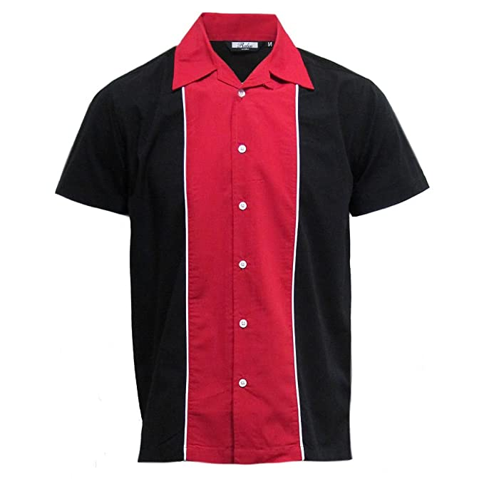 Vintage Shirts – Mens – Retro Shirts Relco Mens Charcoal Grey & Black Bowling Shirt £28.99 AT vintagedancer.com