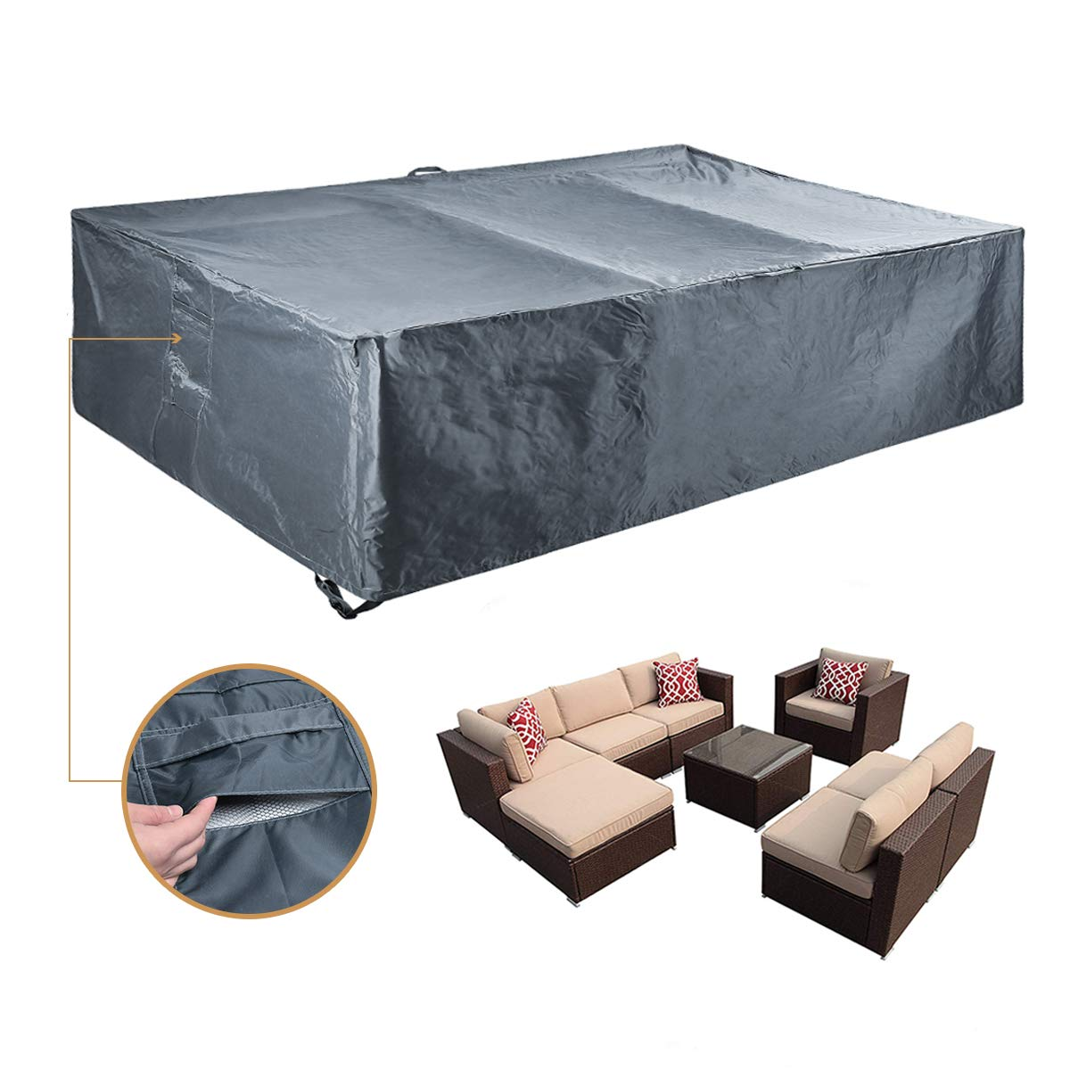 Amazon com outdoor sectional furniture cover patio furniture covers water resistant outdoor table and chairs covers heavy duty 98 l x 98 w x 28 h