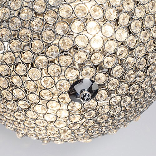 GLANZHAUS Modern Design 11.8 Inches Small Clear Crystal Beads Bowl Shaped Chrome Finish Base Chandelier Crystal Ceiling Light, Flush Mount Ceiling Light Suitable For Bedroom Living Room Hallway by GLANZHAUS (Image #3)