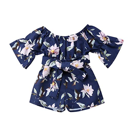 45714a6c7f Amazon.com: Floral Princess Dress Toddler Infant Baby Girls Cute Short Sleeve  Fashion Off Shoulder Rose Blue Dress Summer Outfits Clothes: Clothing