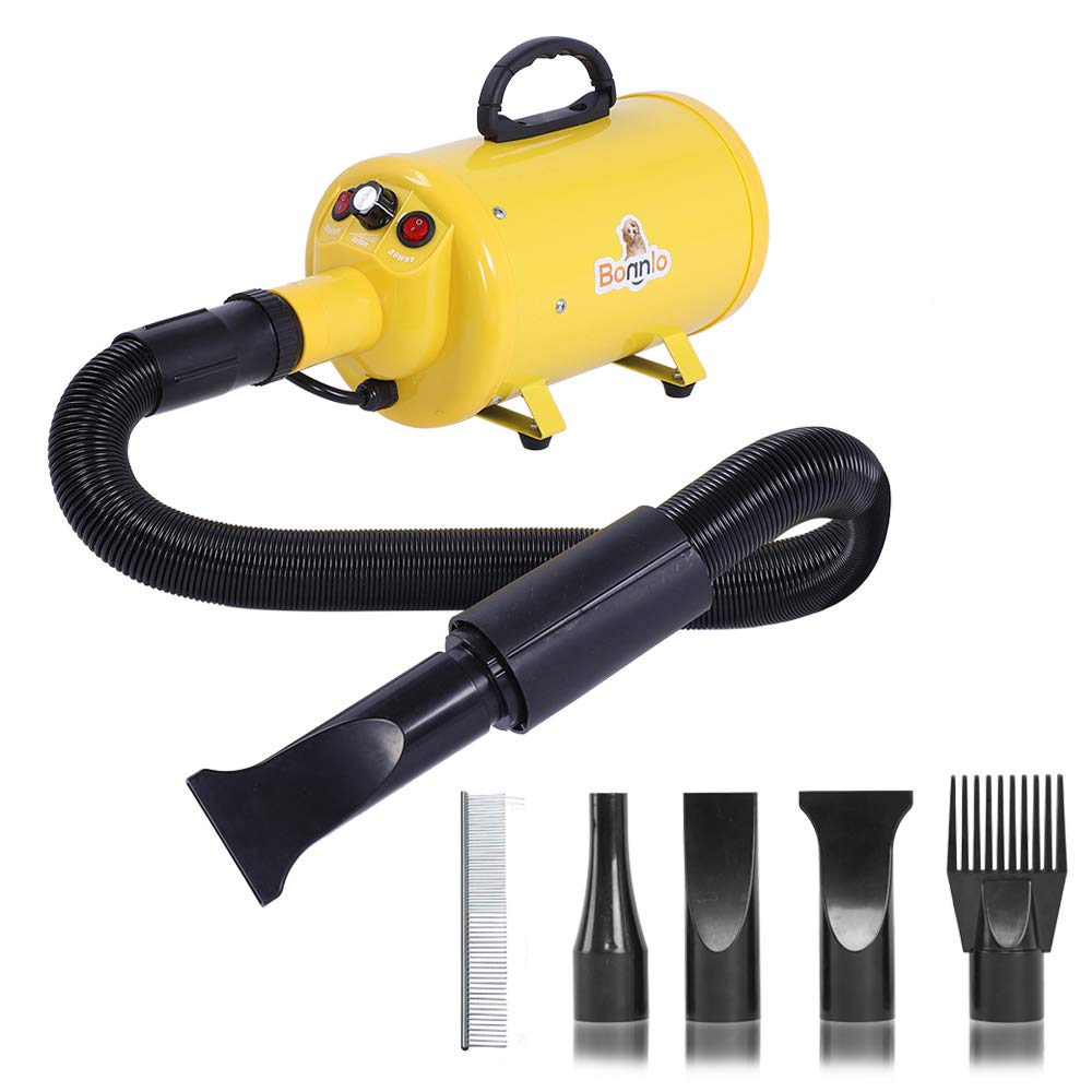 Bonnlo 2400W 3.2HP Stepless Adjustable Speed Pet Dryer Dog Hair Dryer Pet Grooming Blower with Heater Quick - 4 Different Nozzles (Single Motor)(Yellow) by Bonnlo
