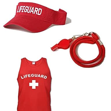 04fba5abc37c Amazon.com  Lifeguard Master RED Lifeguard Tank TOP Visor Combo ...