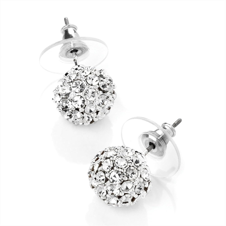 Clear Diamante Ball Stud Earrings AJ Amazon Jewellery