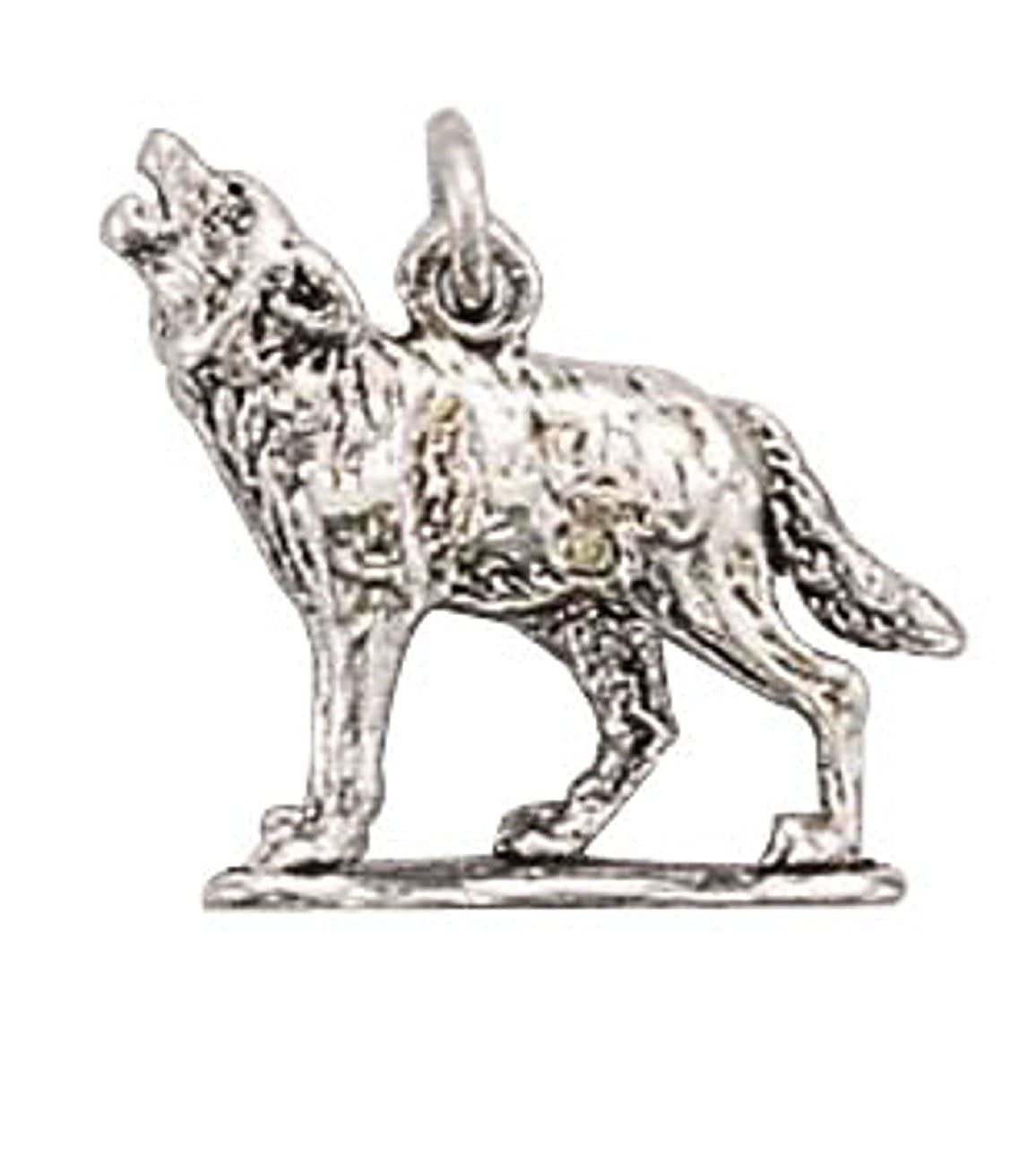 Sterling Silver Girls .8mm Box Chain 3D Howling Wolf Dog Pendant Necklace