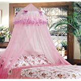 Triple Lace Ruffle Princess Pink Canopy by Sid Trading