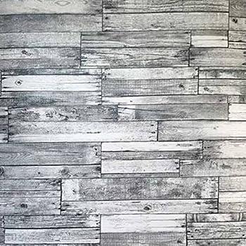 Slavyanski Vinyl Wallpaper Gray Black Old Vintage Retro Faux Rust Rustic Barn Distressed Wood Textured Pattern Double Roll Wallcoverings Wall Paper