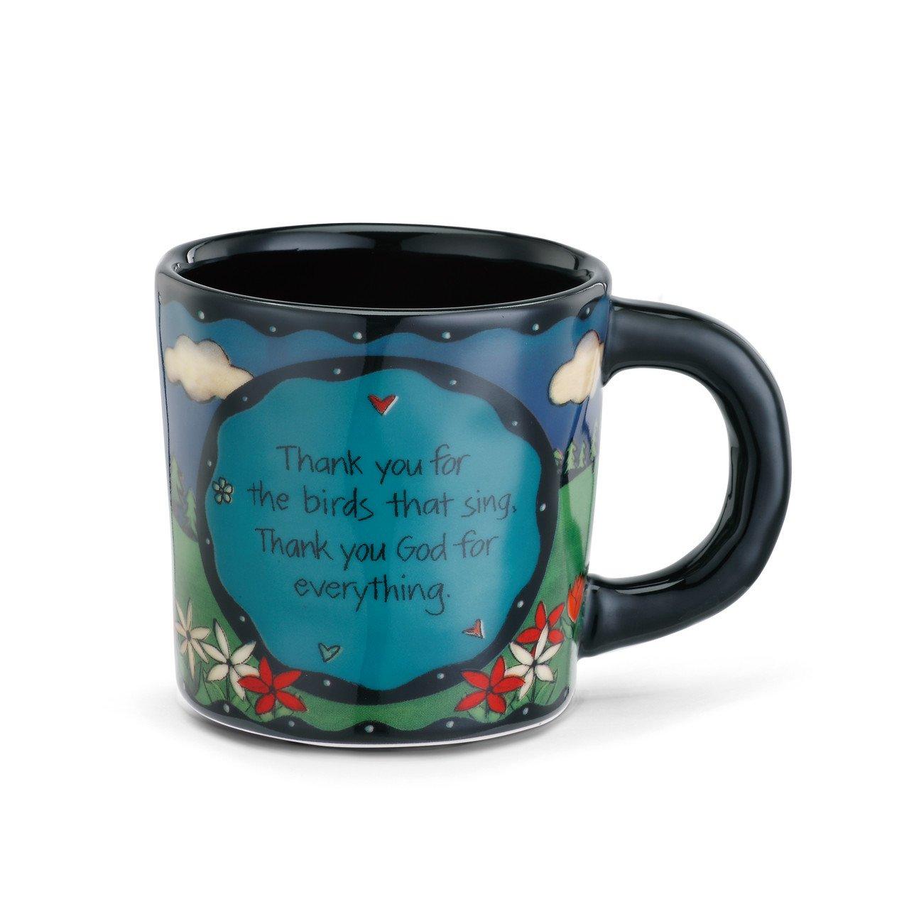 DEMDACO Prayer Bird Thank You God Black 12 Ounce Glossy Stoneware Mug With Handle
