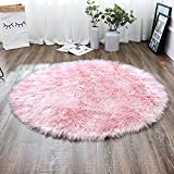 LEEVAN Plush Sheepskin Style Throw Rug Faux Fur Elegant Chic Style Cozy Shaggy Round Rug Floor Mat Area Rugs Home Decorator Super Soft Carpets Kids Play Rug, Pink 3 ft Diameter