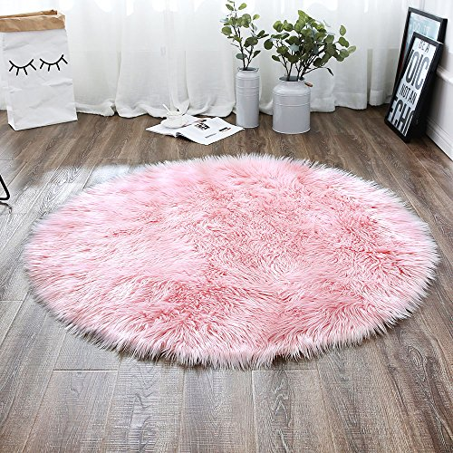 LEEVAN Plush Sheepskin Style Throw Rug Faux Fur Elegant Chic Style Cozy Shaggy Round Rug Floor Mat Area Rugs Home Decorator Super soft Carpets Kids Play Rug, Pink 3 ft Diameter (Back Chair Straight Covers)