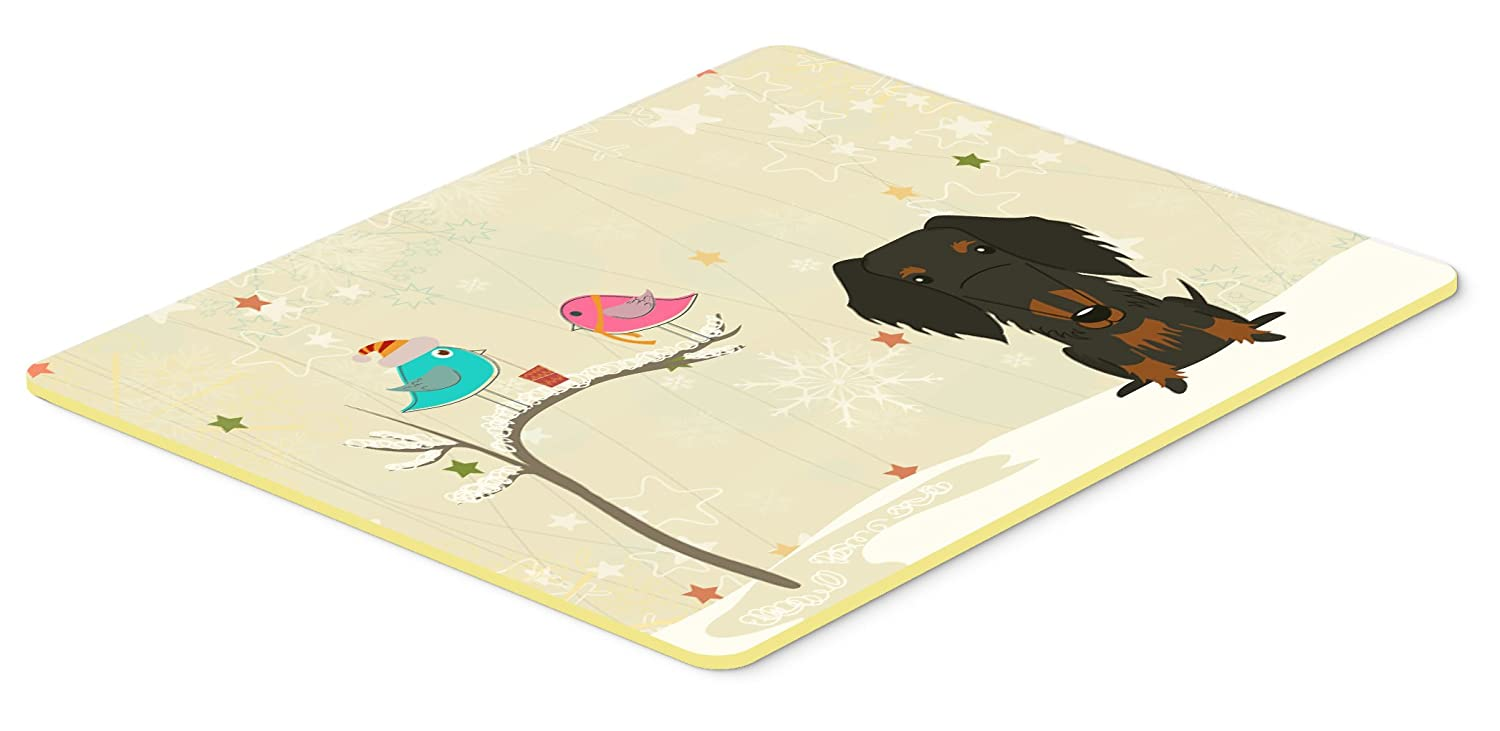 Caroline's Treasures BB2599JCMT Christmas Presents Between Friends Wire Haired Dachshund Black Tan Kitchen or Bath Mat, 24' x 36', Multicolor