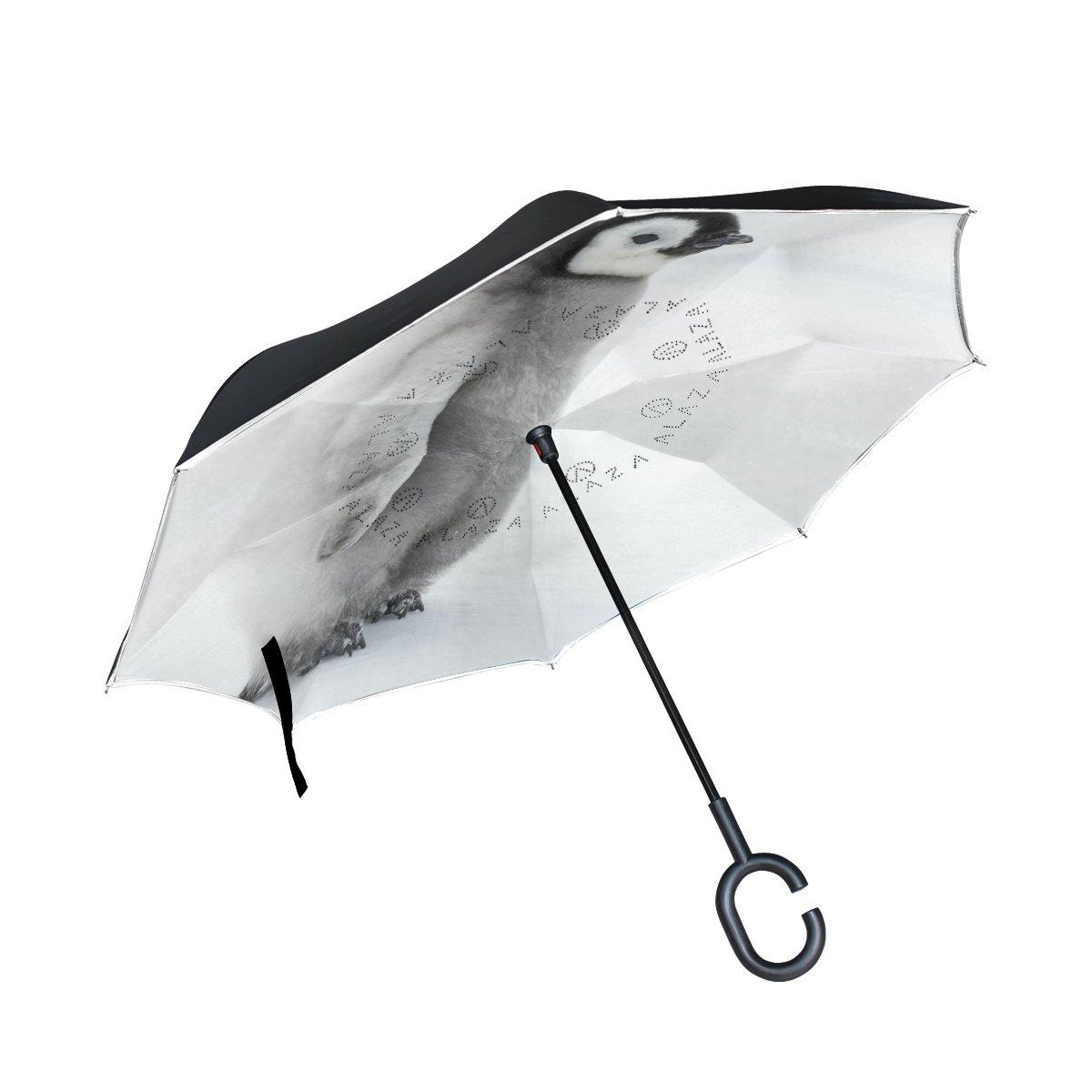 Alaza Double Layer Inverted傘Cars逆傘可愛いペンギン防風UVプルーフ旅行アウトドア傘   B07CM5HSJT