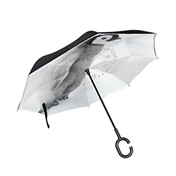 MyDaily Paraguas invertido de doble capa para coches con paraguas invertido, bonito pingüino, resistente