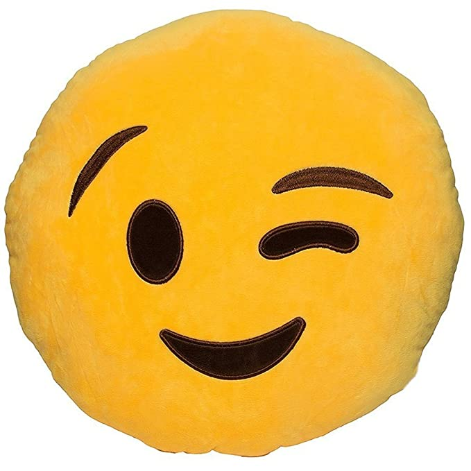 Amazon.com: KiKi Monkey Lovely Emoji Pillow Cushions Yellow Stuffed Toys Round Car Cushions Home Sofa Cushion Pillow Decoration (Kiss): Home & Kitchen