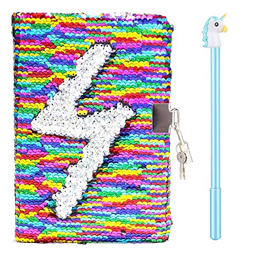 Magic Sequin Notebook Gel Pens Set - Reversible Mermaid Sequin Journal Colorful DIY Kids Secret Diary,Cute Lockable Diary with Padlock & Keys, Lovely Birthday Christmas Gifts for Child