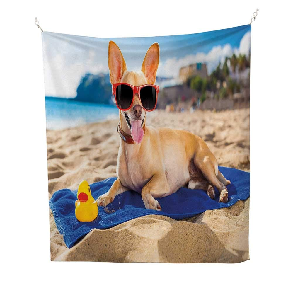 Funnyfunny tapestryChihuahua Dog at The Ocean Shore Sunbathing Smiling Coastal Charm Print 60W x 80L inch Quote tapestrySand Brown Light Blue