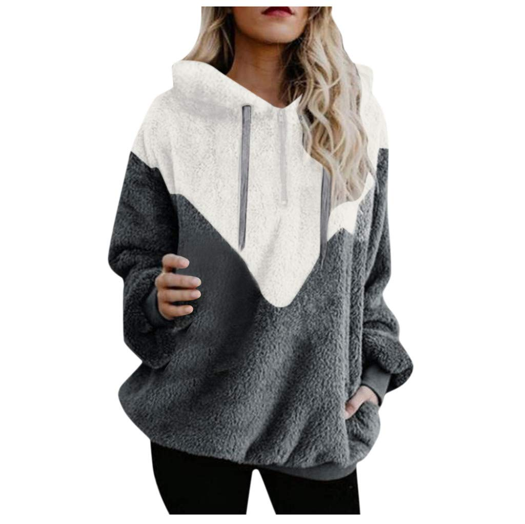 TOPBIGGER Women's Oversized Sherpa Pullover Hoodie with Pockets 1/4 Zip Fuzzy Fleece Sweatshirt Gray by TOPBIGGER