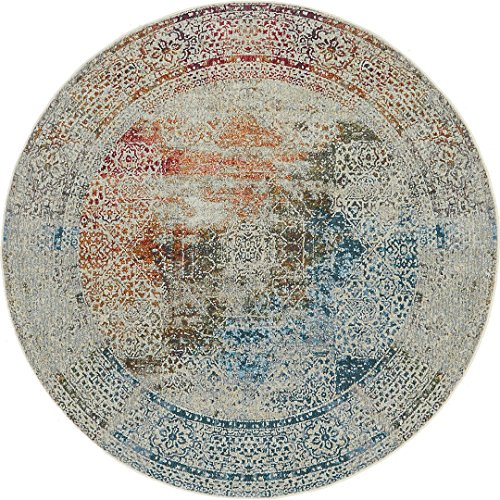 A2Z Rug Multi 5' 5 x 5' 5 Feet Round St. Tropez Collection Traditional and Modern Area Rugs and ()