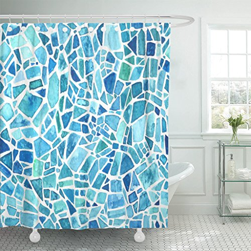 TOMPOP Shower Curtain Green Mosaic Blue Kaleidoscope Watercolor Geometric Pattern Stained Glass Waterproof Polyester Fabric 72 x 72 Inches Set with Hooks (Glass Curtains Shower)