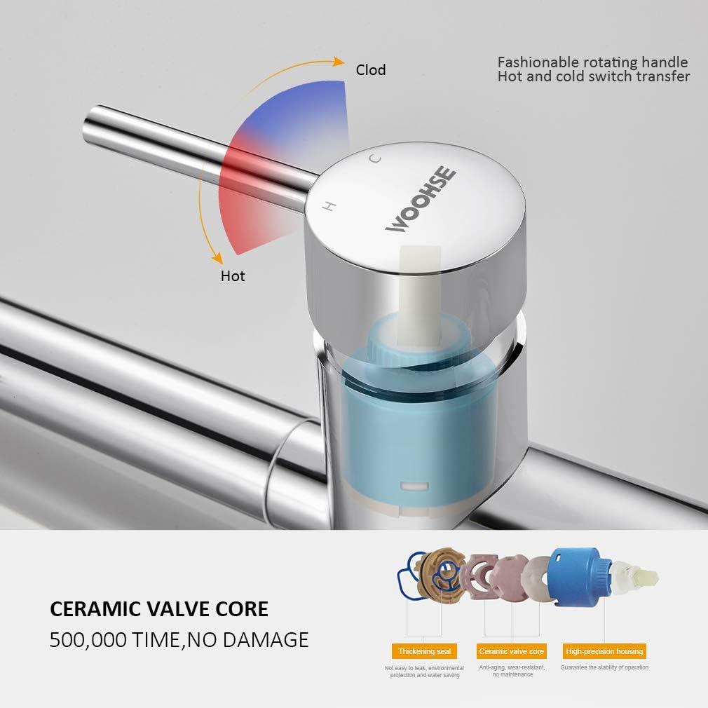 WOOHSE Grifo de Cocina Extensible con 2 tipos de chorros Grifo de Fregadero Giratorio a 360/° Grifo Mezclador Monomando para Fregadero de Cocina