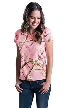 0439ea88 Amazon.com: Code V 3685 - Ladies' Realtree Camouflage T-Shirt: Clothing