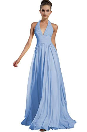 CaliaDress Women Long Halter Chiffon Bridesmaid Party Dress Prom Gowns C276LF Sky Blue UK21W