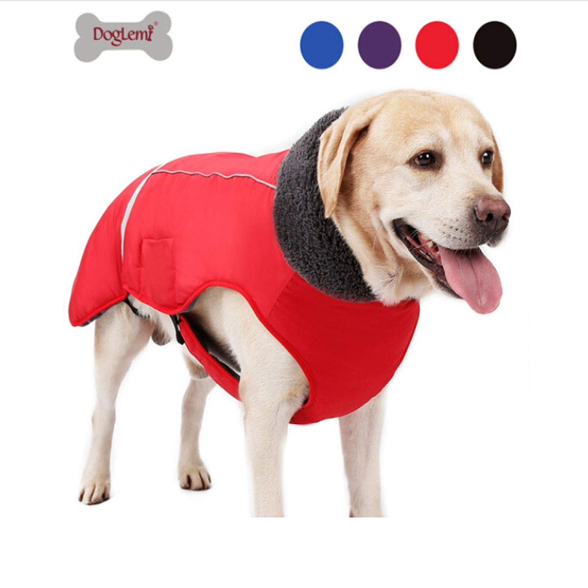 Red S Red S Huijunwenti Third-Generation Dog Buckle Clothes, Pet Thick Winter Jacket Vest, Big Dog Splash-Proof, Reflective Warm Clothing, Black XXXL Fashion (color   Red, Size   S)