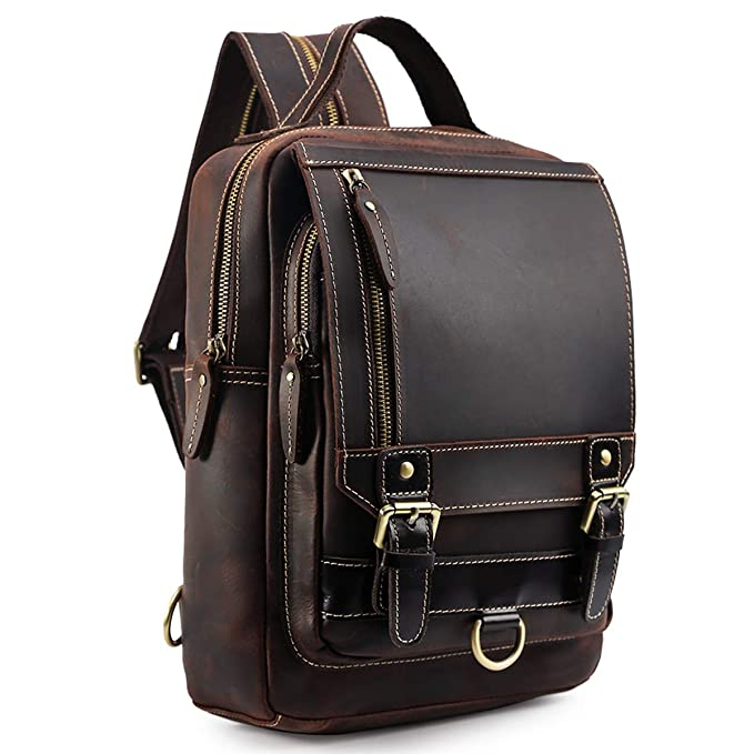 Tiding Men's Genuine Leather Backpack Vintage Small Daypack College Bag Fits 9.7 Inch Ipad Air - Dark Brown