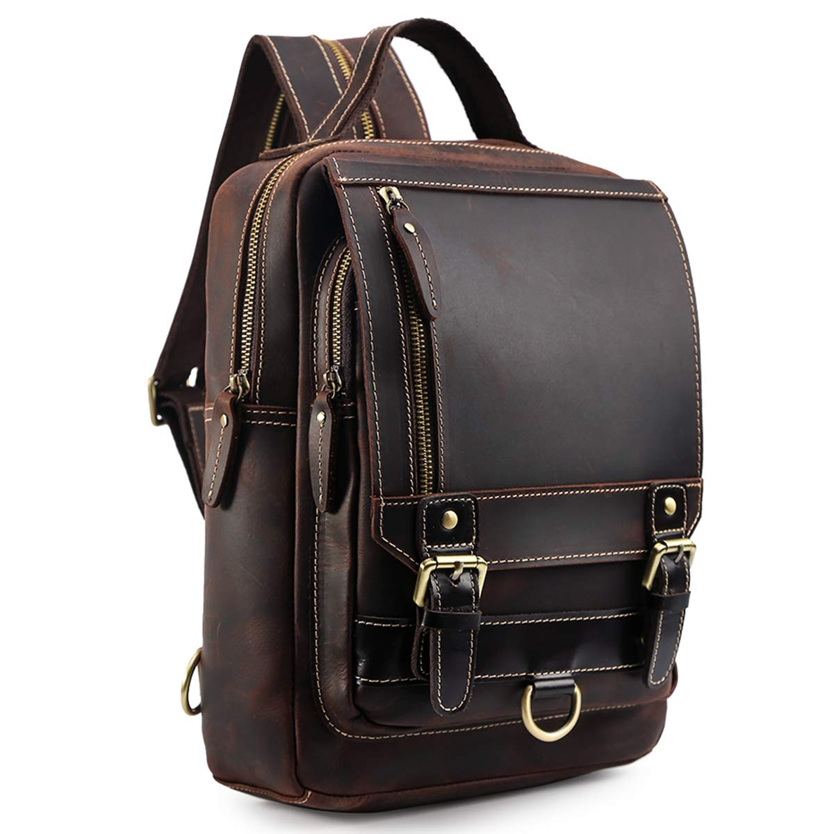 Tiding Men's Vintage Cowhide Small Leather Backpack Convertible Sling Purse School Bag Casual Daypack