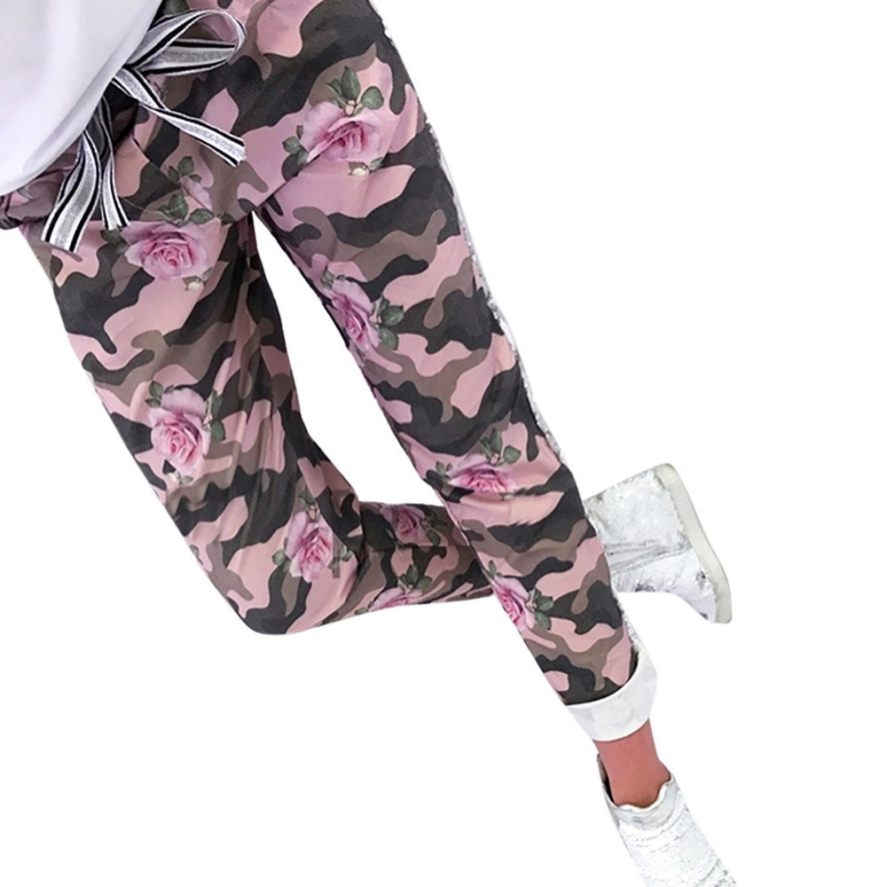 UONQD Women Sequins Camouflage Print Bandage Patchwork Long Pants Trousers(Medium,Pink)
