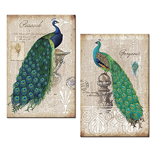 Pretty peacock inspired bathroom adds so much color to for Peacock wall art