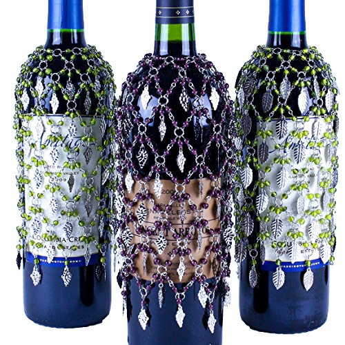 Vineyard Wine Bottle Cover Collection, Set of 3 Beaded Wine Skirts