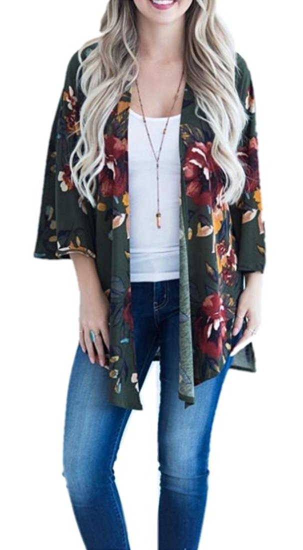 TBONTB Womens Plus Size Floral Kimono Cardigan Capes Loose Cover up Blouse Tops X-Large, Deep Green