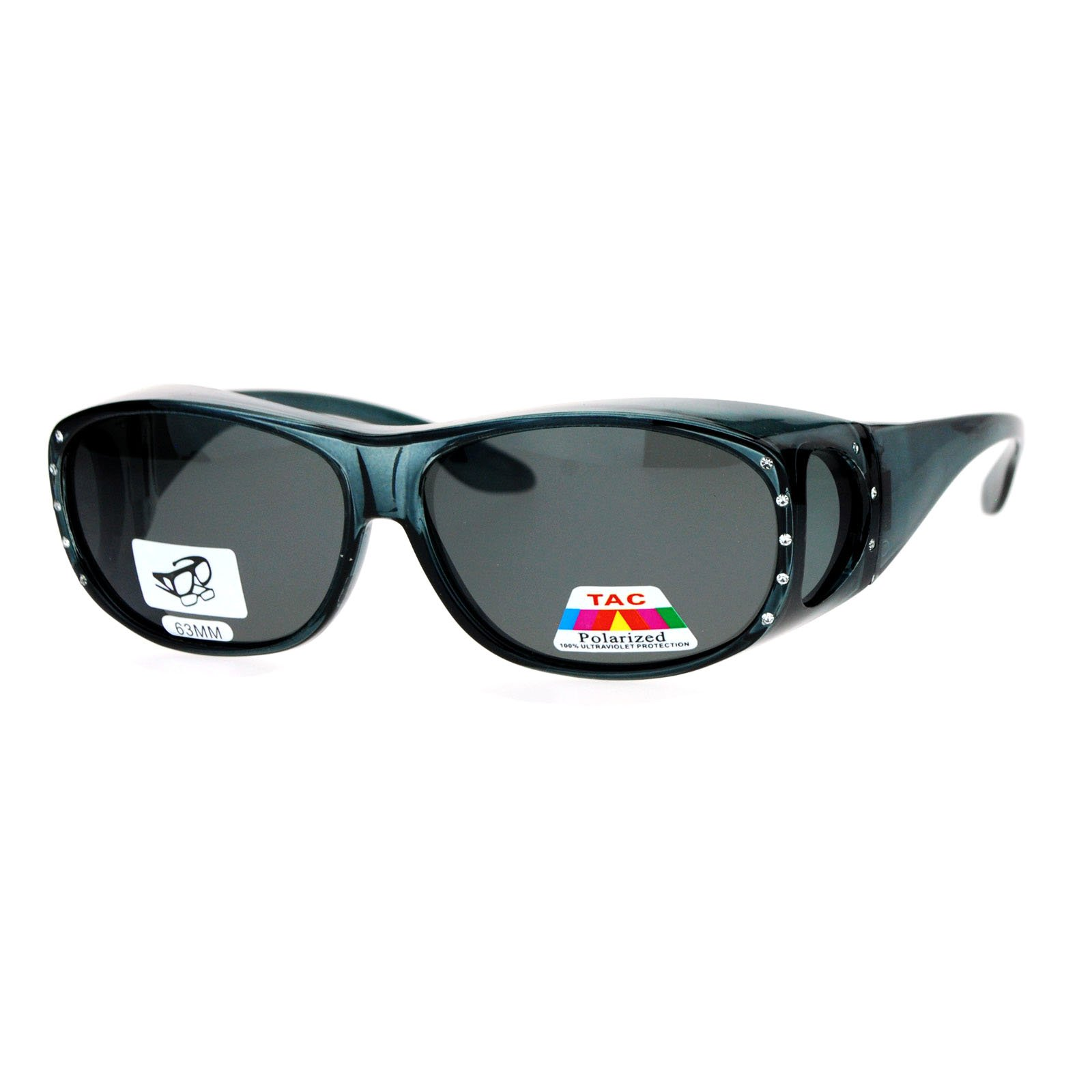 Womens Polarized Fit Over Glasses Rhinestone Sunglasses Oval Rectangular Gray